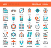 Leisure and Tourism. Vector set of leisure and tourism flat line web icons. Each icon with adjustable strokes neatly designed on pixel perfect 48X48 size grid stock illustration