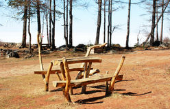 Leisure for tourists at lake Baikal. Leisure for tourists - benches and a table are in the original eco tourism, lake Baikal, which is in the second term under Stock Images