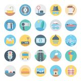 Leisure,Travel and Tour Isolated Vector Icon consist with road, traffic signals, cone, dollar, castle, atm and beach royalty free illustration
