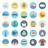 Leisure,Travel and Tour Isolated Vector Icon consist with withdrawal, bus, coconut, beach, taxi, ticket, airplane and mountain, stock illustration