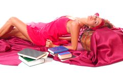 Leisure woman with books Royalty Free Stock Images