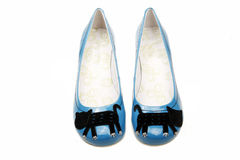Leisure women's shoes. A pair of blue women's shoes on white background Stock Photography