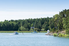 Leisureboats in fairway Finland archipelago Stock Image