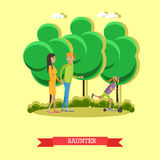 Leisurely walk with family in a park concept vector illustration flat style. Stock Image
