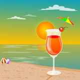 Leisures at beach. Leisures - drink at a beach Royalty Free Stock Photos