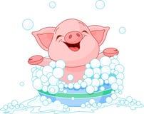 Leitão que toma um banho ilustração stock