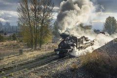 LEITARTIKEL am 18. Oktober 2015 historische Dampf-Züge und Erbeisenbahn der Sumpter-Tal-Eisenbahn oder Eisenbahn, Sumpter Oregon stockfotografie