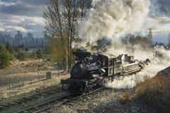 LEITARTIKEL am 18. Oktober 2015 historische Dampf-Züge und Erbeisenbahn der Sumpter-Tal-Eisenbahn oder Eisenbahn, Sumpter Oregon Lizenzfreies Stockfoto