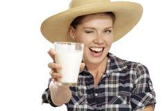Leite bebendo de mulher nova Imagem de Stock