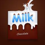 Leite com a bandeira da arte do chocolate Imagem de Stock