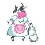 Leite de vaca engraçado isolado em um fundo branco Imagens de Stock
