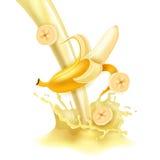 Leite doce da banana Imagens de Stock Royalty Free