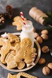 Leite e bolinhos Cookies do pão-de-espécie em um fundo cinzento Bolinhos do Natal Fotografia de Stock