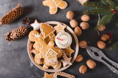 Leite e bolinhos Cookies do pão-de-espécie em um fundo cinzento Bolinhos do Natal Imagens de Stock Royalty Free