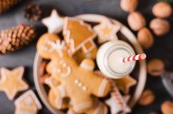 Leite e bolinhos Cookies do pão-de-espécie em um fundo cinzento Bolinhos do Natal Foto de Stock Royalty Free