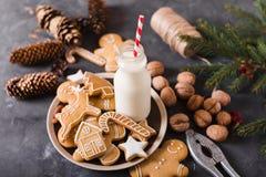 Leite e bolinhos Cookies do pão-de-espécie em um fundo cinzento Bolinhos do Natal Fotografia de Stock Royalty Free