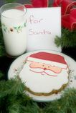 Leite e bolinhos para Santa Fotografia de Stock