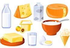 Leite e produtos agrícolas Fotografia de Stock
