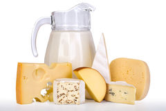 Leite e queijo Imagens de Stock Royalty Free