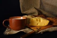 Leite e queijo no estilo rústico Fotos de Stock Royalty Free