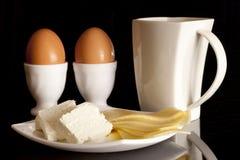 Leite, ovos e queijo imagem de stock