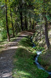 Leitenwaal, South Tyrol. Trail at the Leitenwaal Irrigation channel near Schluderns, South Tyrol Royalty Free Stock Photos