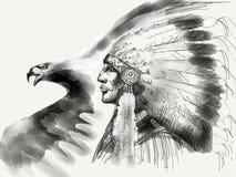 Leiter des amerikanischen Ureinwohners Schwarzweiss lizenzfreie stockfotos
