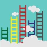 Leiter, die führen, um sich zu bewölken und viele kurzen Geschäft, Ziel, Wettbewerb, einzigartiges, Fortschritt, Herausforderung, stock abbildung