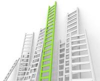 Leiter-Hindernis zeigt überwundene Hindernisse und Herausforderung an vektor abbildung