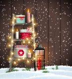 Leiter mit Weihnachtskerzen und -Geschenkboxen stock abbildung