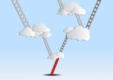 Leitern, zum sich auf Himmel zu bewölken Stockbilder