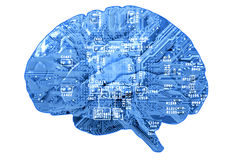 Leiterplatte in der Form des menschlichen Gehirns Stockfoto