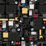 Leiterplatte mit Komponenten und nahtlosem Muster der Drähte Stockfotos