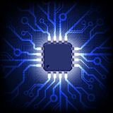 Leiterplatte mit Mikrochip. Vektorhintergrund. Lizenzfreie Stockfotos
