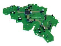 Leiterplatteform des Belgien-Kartenisolats auf weißem Hintergrund Stockbild