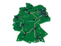 Leiterplatteform des Deutschland-Kartenisolats auf weißem Hintergrund Lizenzfreie Stockfotos