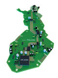 Leiterplatteform des Finnland-Kartenisolats auf weißem Hintergrund Lizenzfreie Stockfotos