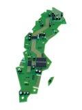 Leiterplatteform des Schweden-Kartenisolats auf weißem Hintergrund Lizenzfreie Stockfotografie