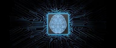 Leiterplattehintergrund der Zusammenfassung blauer glühender mit Gehirnlogo in der Mitte vektor abbildung