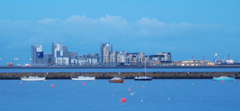 Leith harbor and skyline Royalty Free Stock Photo