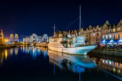 Leith by night. Night shot of Leith by Water of Leith near Edinburgh Stock Photography