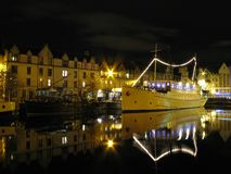 Leith Waterfront Night Reflection Stock Photo