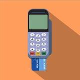 Leitor de cartão do crédito Projeto liso do estilo com sombra longa Imagens de Stock Royalty Free