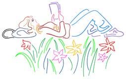 Leitura agradável ilustração royalty free