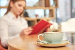 Leitura bonita da mulher de negócios Fotos de Stock Royalty Free