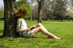 Leitura da jovem mulher sob uma árvore Fotografia de Stock Royalty Free