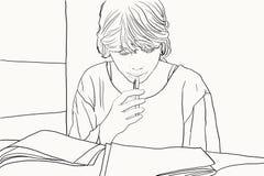 Leitura da menina do estudante Fotografia de Stock