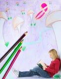 Leitura da menina no mundo imaginário imagens de stock royalty free
