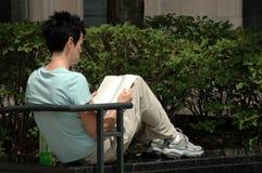 Leitura da mulher no parque Foto de Stock