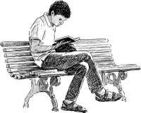 Leitura do homem novo Imagem de Stock